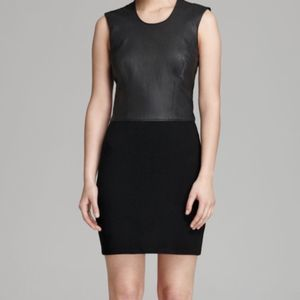Helmut Lang Black Leather NWOT Knit Dress Size M
